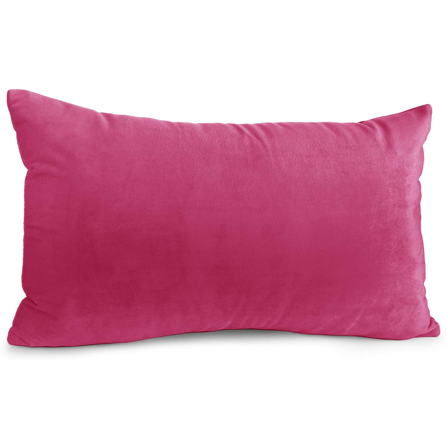 """Nestl Bedding Throw Pillow Cover 12"""" x 20"""" Soft Square Decorative Throw Pillow Covers Cozy Velvet Cushion Case for Sofa Couch Bedroom - Hot Pink"""