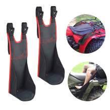 Sresk ATV Rear Passenger Foot Rest,Universal Adjustable Foldable Wear-resistant Motorcycle Rear Foot Pegs Compatible With Sportsman Rancher Griz, Nonslip Foot Support Pads (Red Piping)