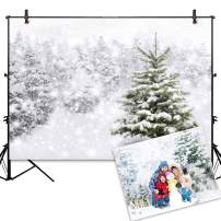 Allenjoy Christmas Backdrop 7x5ft Natural Winter Forest Snowflake Snowfall Background for Photography White Snow Tree Home Party Decoration Photo Studio Props