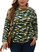 CHARLES RICHARDS Women's Plus Size T Shirts Long Sleeve Camo Print Casual Loose Tunic Tops