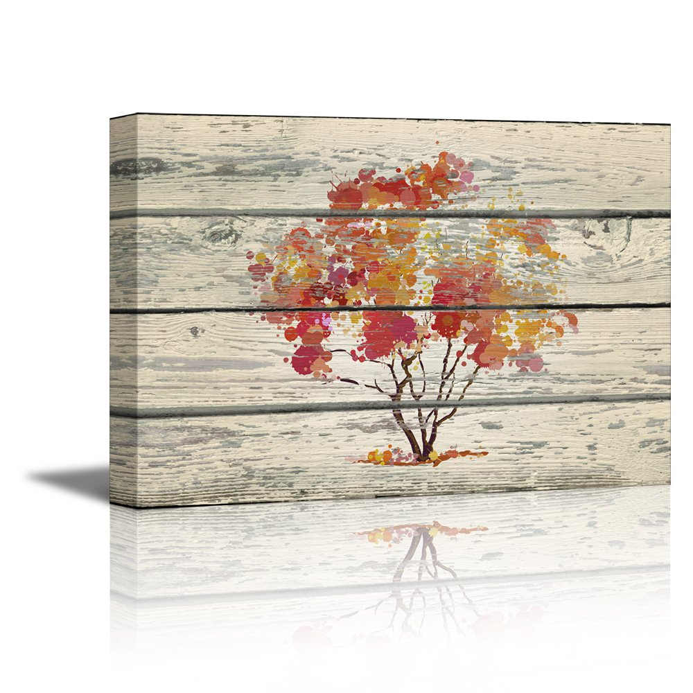 """wall26 - Canvas Prints Wall Art - Abstract Art Water Color Style Tree on Vintage Wood Background Rustic Home Decoration - 24"""" x 36"""""""