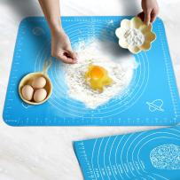 Silicone Baking Mat with Measurements, Amytalk Non-stick Pastry Mat For Rolling Dough Liner Heat Resistance Baking Pad Pastry Board, Reusable, Blue