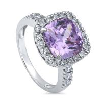 BERRICLE Rhodium Plated Sterling Silver Purple Cushion Cut Cubic Zirconia CZ Statement Halo Cocktail Fashion Right Hand Ring