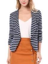 Allegra K Women's Work Office Business Notched Lapel 3/4 Sleeves Casual Striped Blazer