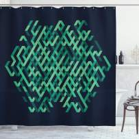 """Ambesonne Modern Shower Curtain, Geometric with Ombre Elements Colored Lines Maze Like Circle Round Seem Image, Cloth Fabric Bathroom Decor Set with Hooks, 84"""" Long Extra, Green Blue"""