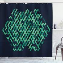"""Ambesonne Modern Shower Curtain, Geometric with Ombre Elements Colored Lines Maze Like Circle Round Seem Image, Cloth Fabric Bathroom Decor Set with Hooks, 75"""" Long, Green Blue"""