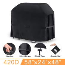 king do way Grill Cover Heavy Duty Waterproof BBQ Grill Cover with Handle,Straps,Storage Bag and Shrink Rope,Outdoor Rip-Proof,Dust-Proof,Anti-UV for Weber,Brinkmann,Outback,Char-Broil etc,58 inch
