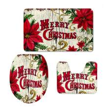chaqlin Merry Christmas Comfort Flannel 3 Pcs Bath Rug Set Included Non-Skid Washroom Carpet Contour Mat Toilet Lid Cover