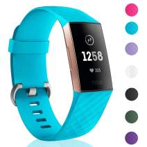 Hotodeal Sport Bands Compatible Charge 3 Soft Silicone Wristbands Water Proof Charge 3 Sport Bands for Women Men Fitbit Charge 3 Accessories, Small Large Size