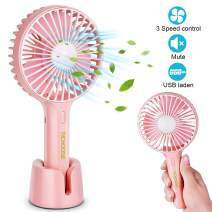 Richoose Handheld Fan Portable, Mini Hand Held Fan with USB Rechargeable Battery, for Women Girls Kids Outdoor and Indoor (Pink)