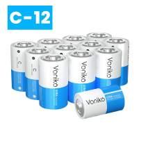 VONIKO Ultra Alkaline C Batteries,C Size Batteries 12 Pack –10-Year Shelf Life and 6-9 Times The Power asCarbon Batteries, C 1.5 Volt Battery