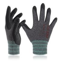 DEX FIT Nitrile Work Gloves FN330, 3D Comfort Stretch Fit, Power Grip, Smart Touch, Durable Foam Coated, Thin & Lightweight, Machine Washable, Black Gray X-Small 1 Pair