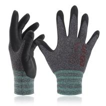 DEX FIT Lightweight Nitrile Work Gloves FN330, 3D Comfort Stretch Fit, Durable Power Grip Foam Coated, Smart Touch, Thin Machine Washable, Black Grey X-Small 3 Pairs Pack