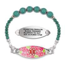 Divoti Custom Engraved Slip-on Medical Alert Bracelets for Women, Beaded Medical Bracelet, Stretch Medical Alert Bracelet Stainless/Free Engraving–Gorgeous Red Rose & Various Bead– Color/Size