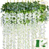 NEW RUICHENG Artificial Hanging Plants, Artificial Leaves White Wisteria Flower 12 Pack Fake Vine Hanging Plant Artificial Vine Plant Garland Green Leaves Fake Plastic Plant Garden Weddi