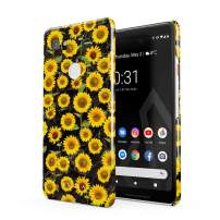 BURGA Phone Case Compatible with Google Pixel 2 XL - Yellow Sunflowers Vinatge Flowers Floral Print Pattern Fashion Designer Cute Case for Women Thin Design Durable Hard Plastic Protective Case