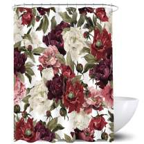 Homewelle Watercolor Flowers Floral Shower Curtain Rustic Rose Red White Girl Retro Leaves Blossom Peony Woman 60Wx72L Inch Waterproof 12 Pack Plastic Shower Hooks Polyester Fabric Bathroom Bathtub