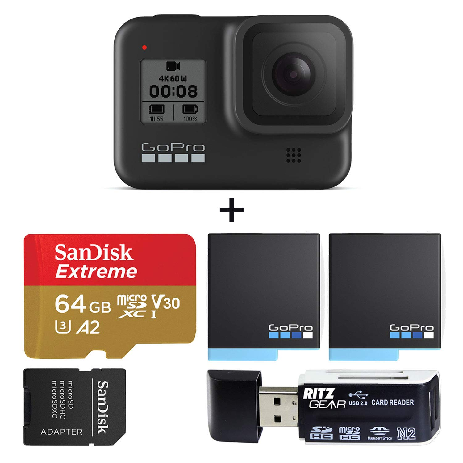 GoPro HERO8 Black Waterproof Action Camera with Touch Screen 4K Ultra HD Video 12MP Photos 1080p Live with Accessory Bundle + 2 Extra GoPro USA Batteries + Sandisk 64GB MicroSDHC U3 + Ritz Gear Reader