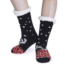 Loveternal Womens Teen Girls Cute Non Slip Christmas Socks Warm Cozy Mid Half Fuzzy Thick Crew Socks Festival Gift
