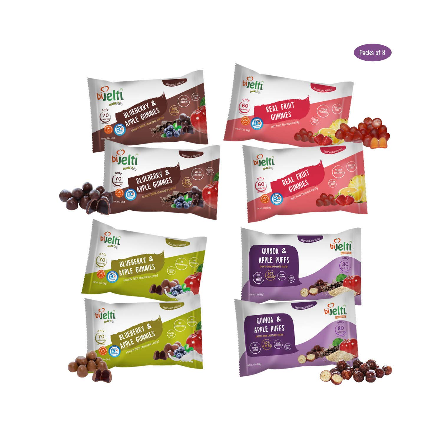 Bijelti Gluten Free Snacks Variety Pack – Real Fruit Snacks Individual Packs Gummies, Chocolate Covered Quinoa Puffs and Gummy Snack – No Sugar Added Healthy Snacks For Adults and Kids – 8 Pack