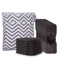 Damero 5-Layer Charcoal Bamboo Reusable Diapers Baby Inserts with Gussets, 12PCS Cloth Diaper Inserts with an Extra Storage Bag (Charcoal Bamboo Material with Gussets)