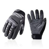 Vgo Deer Split Leather Work Gloves, Mechanic Gloves, Cut Resistance ANSI A3, Touchscreen Compatible (Size M, Gray, DB9702HY)
