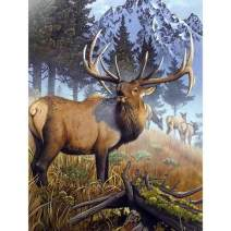 SKRYUIE 5D Full Drill Diamond Painting Snowy Mountain Elk by Number Kits, Paint with Diamonds Arts Embroidery DIY Craft Set Arts Decorations (12x16 inch)