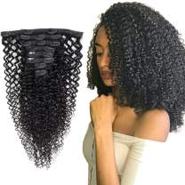 Clip in Hair Extensions Kinky Curly #1B Natura Black Hair 100% Remy Human Hair 130 Gram Silky Straight Short Thick Real Human Hair Extensions for Black Women 14 Inch