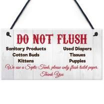 "Meijiafei Do Not Flush Septic Tank Novelty Hanging Plaque Bathroom Wall Door Toilet Thank You Sign 10"" X 5"""