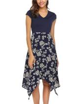 Zeagoo Women's Floral Print V Neck Cap Sleeve Summer Casual A-line Swing Dress