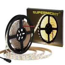 SUPERNIGHT LED Light Strip, 16.4ft/5M SMD 5050 60Leds/M Blue Waterproof Led Flexible Flash 300 LEDs Rope Lights (Warm White)