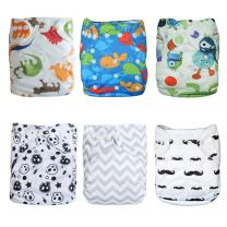 ALVABABY Baby Cloth Diapers One Size Adjustable Washable Reusable for Baby Girls and Boys 6 Pack + 12 Inserts 6DM08