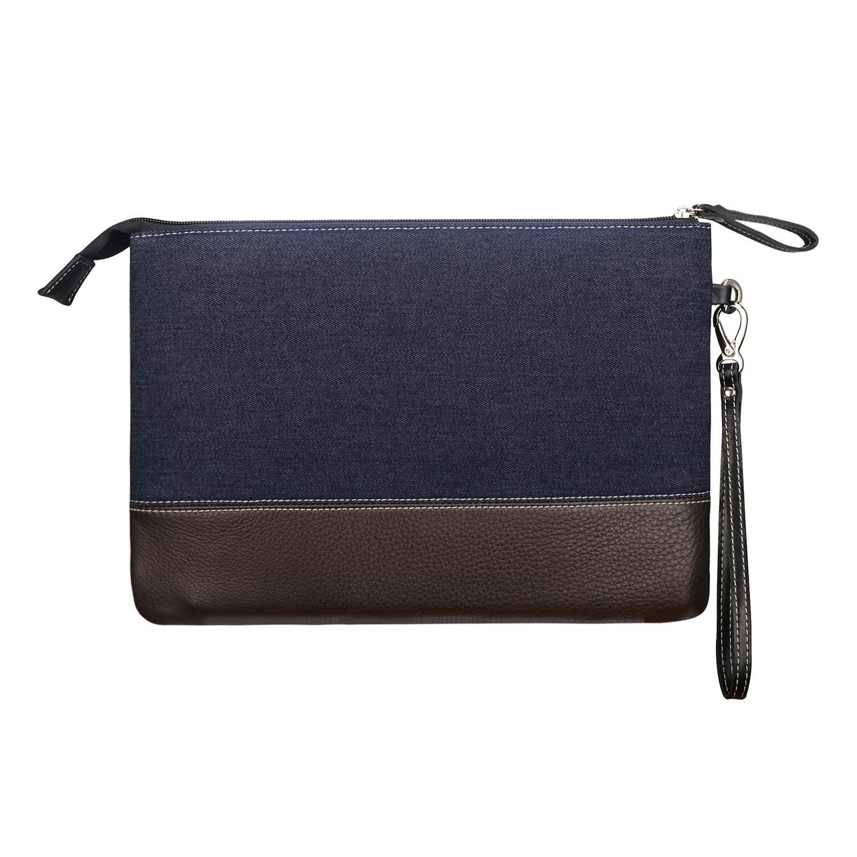BIGHAS Men's Clutch Bag Handbag Briefcase US Letter Large Size, Long Wrist Strap Nylon Genuine Leather Business Daily Commuting Zipper 2 Color (Denim Navy+Brown)