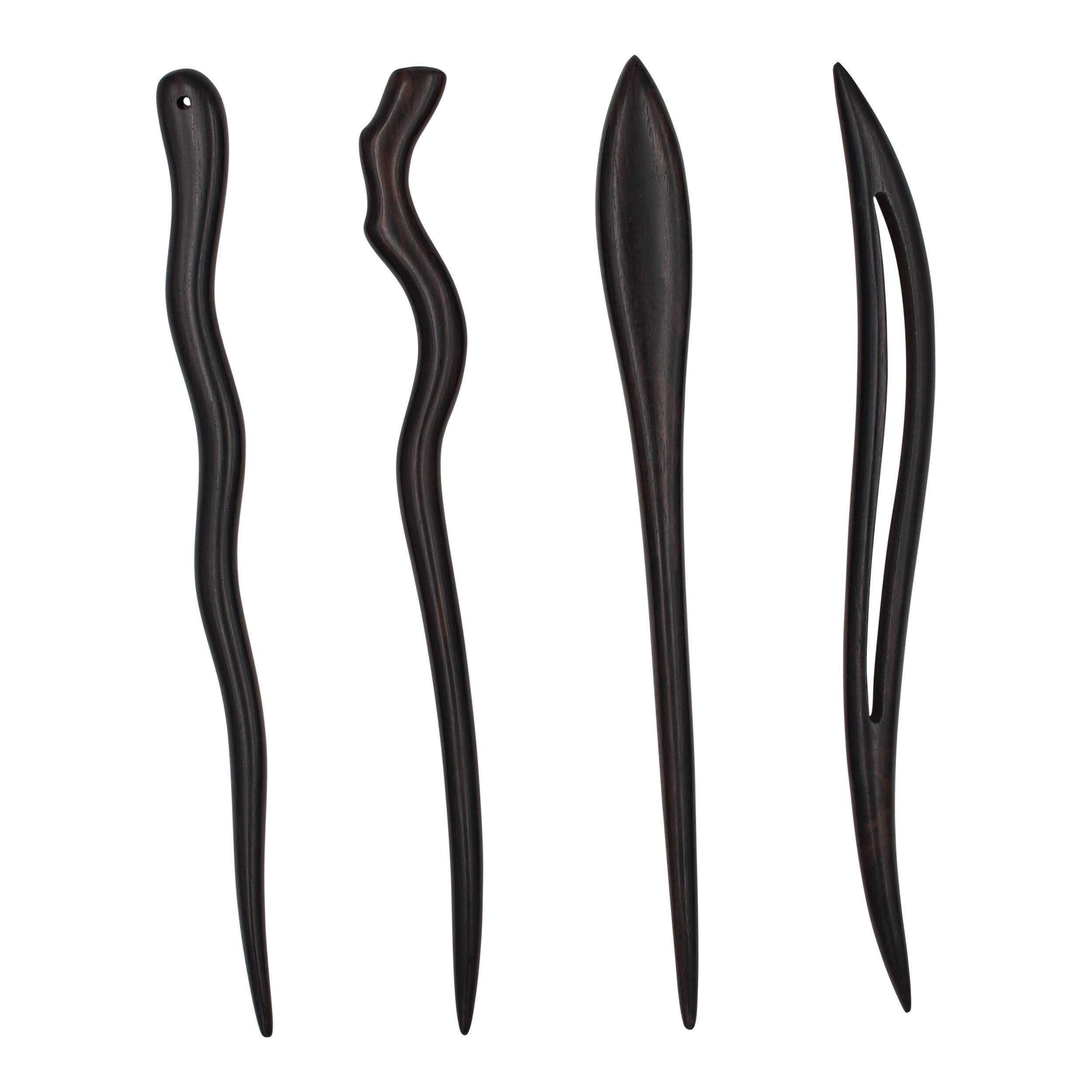 REAL SIC - Natural Sandalwood Hair Sticks for Women - Set of 4 - Sustainable Retro Boho Fashion Chopsticks/Wood Hair Pins for Long Hair (Outdoor Fun Set)