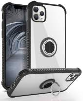 DAUPIN iPhone 11 Pro Case, iPhone 11 Pro Clear Case with 360 Rotatable Ring Kickstand Metal Car Mount and Hard PC Air Cushion Protective Soft TPU Bumper Phone Case Cover for iPhone 11 Pro (Black)