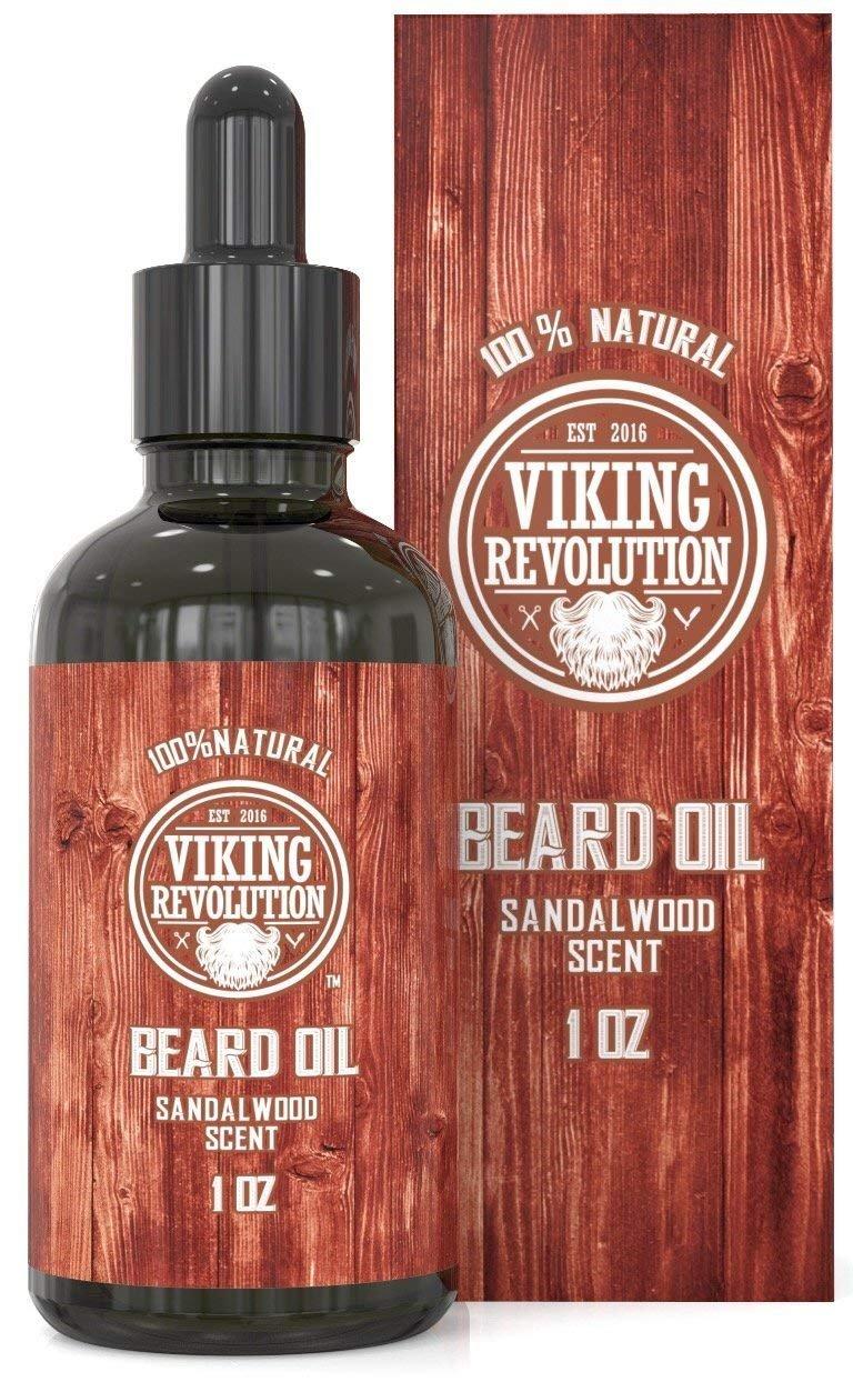 Beard Oil Conditioner - All Natural Sandalwood Scent with Organic Argan & Jojoba Oils - Softens & Strengthens Beards and Mustaches for Men (Sandalwood, 1 Pack)