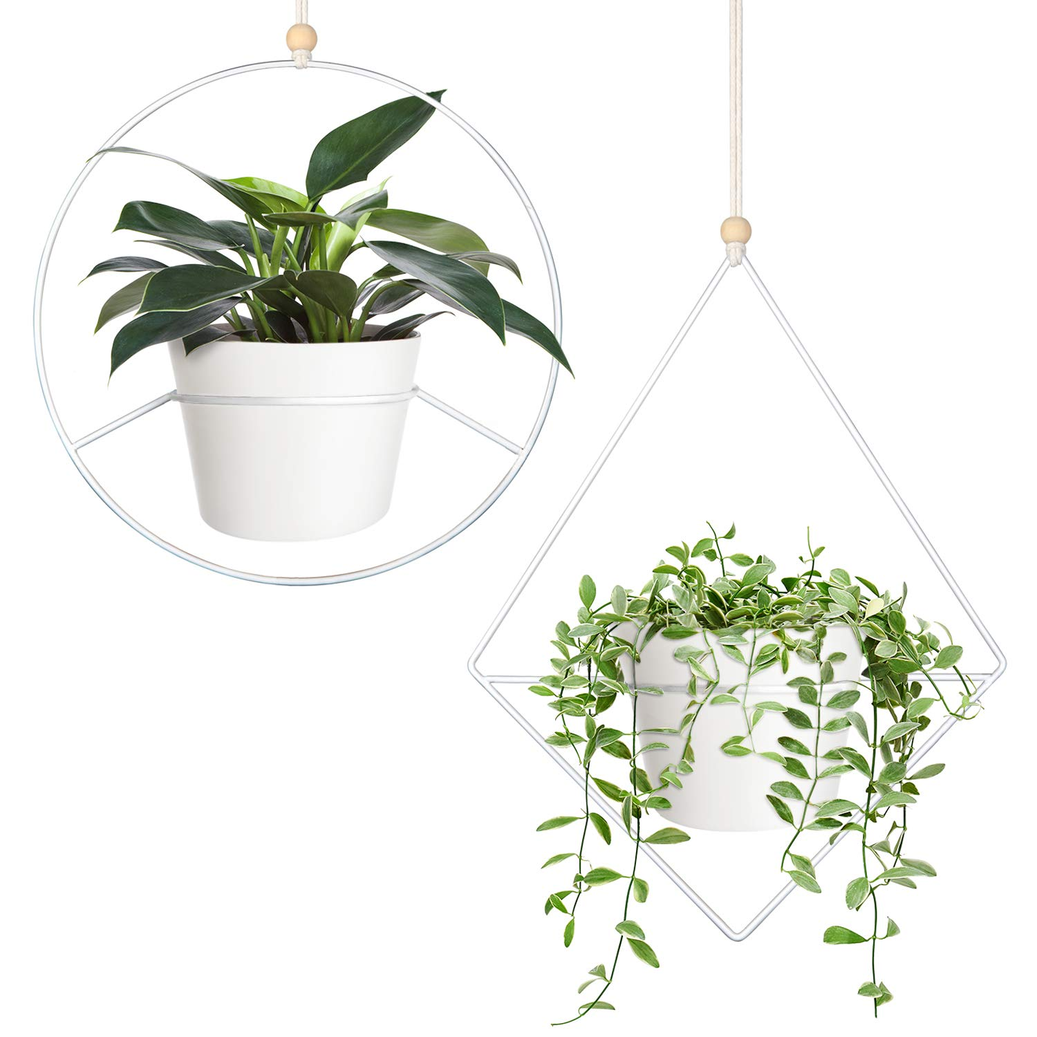 Mkono Boho Hanging Planter, Set of 2 Metal Plant Hanger in Diamond and Circle Shape with Plastic Plant Pot, Modern Mid Century Flower Pot Plant Holder, Fits 6 Inch Planter, White (Pots Included)