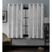 Exclusive Home Curtains Belmont Embroidered Woven Blackout Grommet Top Curtain Panel Pair, 52x63, Winter