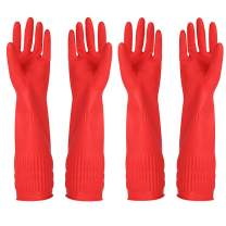 Rubber Cleaning Gloves Kitchen Dishwashing Glove 2-Pairs and Cleaning Cloth 2-Pack,Waterproof Reuseable. (Medium)