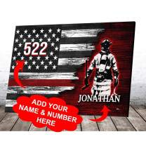 VTH Global Personalized Firefighter Thin Red Line USA US Patriot Pride American Flag Canvas Prints Wall Art Vintage Wooden Background Home Decor Volunteer Firefighting Gifts for Dad Husband Grandpa