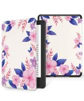 GVIEWIN Case for All-New Kindle 10th Generation 2019 Release Only, Flowers Leather PC Hard Shell Protective Cover Auto Wake/Sleep, (Not Fit Kindle Paperwhite 10th Gen 2018), (White/Purple)