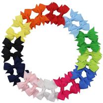 """QtGirl 24pcs 2"""" Mini Pinwheel Pigtail Hair Bows with Alligator Clips Grosgrain Ribbon Hairbows for Baby Girls Toddlers Kids in Pairs"""