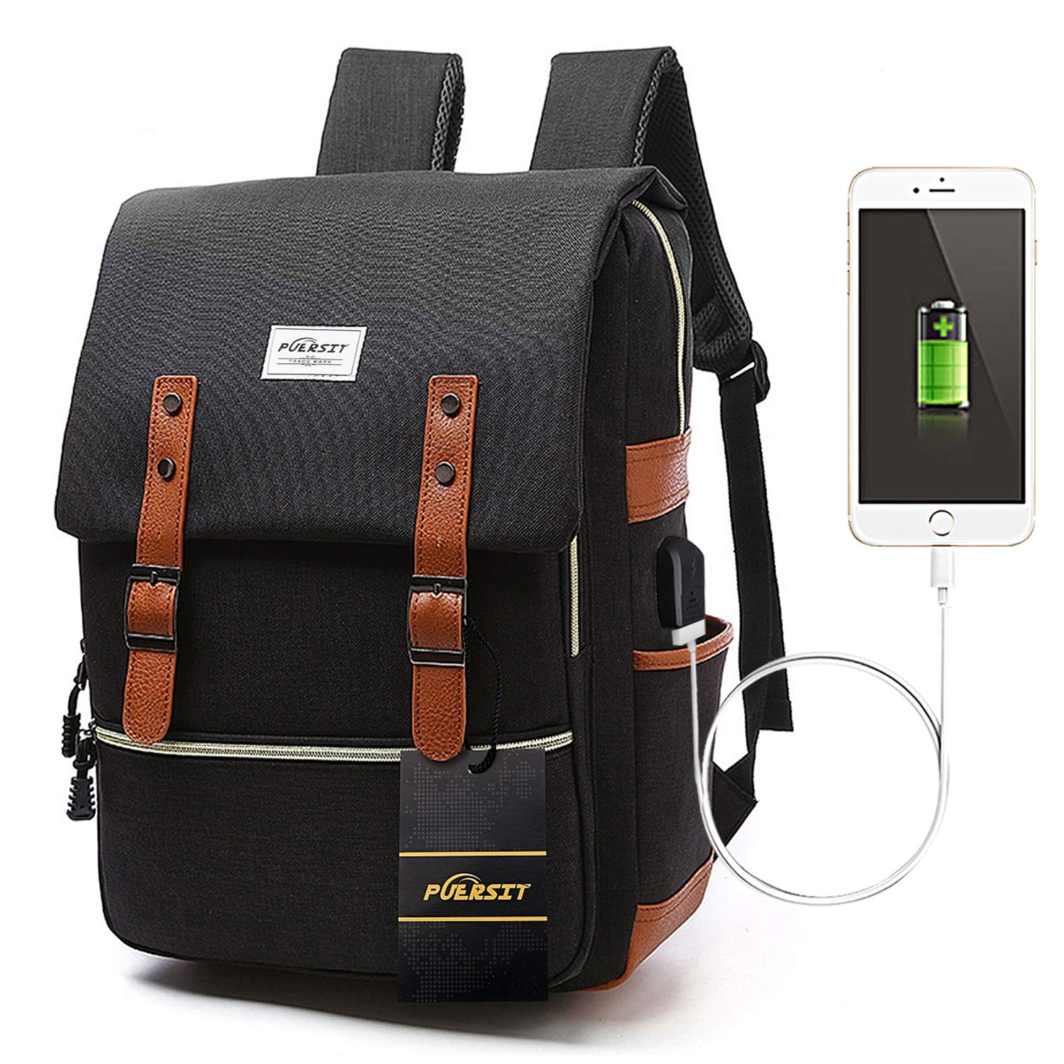 Puersit Vintage Laptop Backpack 15 Inch Canvas College School Backpack with USB Charging Port for Travel Unisex Backpack