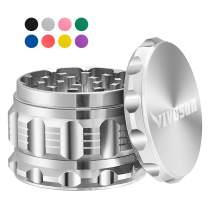 "VIVOSUN 2.5"" 4 Pieces Herb Grinder Aluminium Spice Grinder with Pollen Scraper Silver"