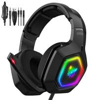 GLEENFIT RGB Gaming Headset with PS5,PS4,Xbox One Headset with Noise Canceling Mic&Led Light,PC Headset with 7.1 Bass Surround Sound for PC,Xbox One Controller,Playstation 4(K10)