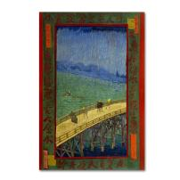 Bridge In The Rain After Hiroshige by Van Gogh, 16x24-Inch Canvas Wall Art