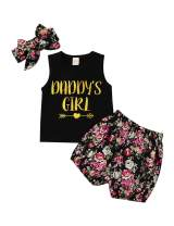 Oklan Toddler Baby Girl Summer Outfit Sleeveless T Shirt Tops Florla Shorts with Headband Clothes Sets