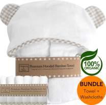 Channing & Yates Premium Hooded Baby Towel + (6 Piece) Washcloth Gift Bundle - Organic Bamboo Baby Towels - Thick & Soft - Baby Towel and 6 Washcloth Set - (Unisex Beige Gingham Bundle)