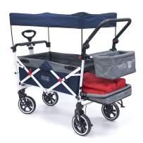 Creative Outdoor Push Pull Collapsible Folding Wagon Stroller Cart for Kids   Titanium Series   Beach Park Garden & Tailgate (Navy Blue)