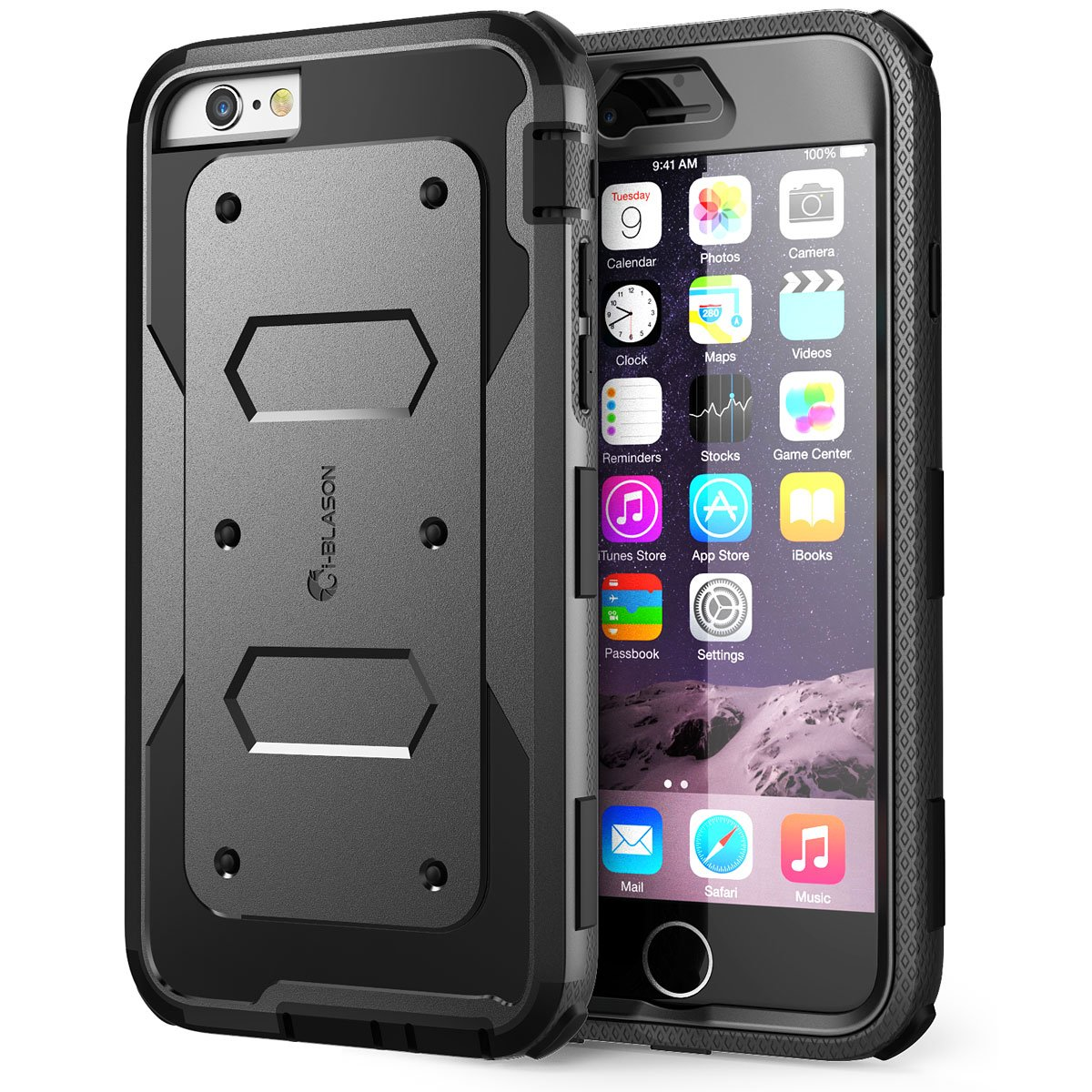 i-Blason Case for iPhone 6s / 6 Case,  Built in Screen Protector  Armorbox  Full Body Heavy Duty Protection Shock Reduction Case, Black, 4.7